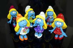 """Set of 6 Girl The Smurfs Moveable Action Figures Brand New PVC 5"""" 