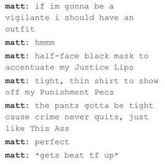 Matt and his black costume appreciation post