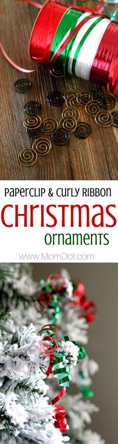 Paper Clip And Ribbon DIY Homemade Ornaments Christmas Ornament CraftsHoliday