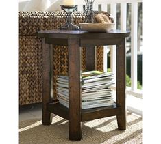 Benchwright Side Table - Rustic Mahogany stain | Pottery Barn // End Table?