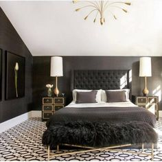 Black and Gold Bedroom Accessories . Black and Gold Bedroom Accessories . Luxury Black & Gold Bedroom by Michellegersoninteriors Black White And Gold Bedroom, Bedroom Black, Modern Bedroom, Black Gold Decor, Contemporary Bedroom, Trendy Bedroom, Black And Gold Living Room, Silver Bedroom, Bedroom Simple