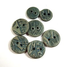 Handmade Reversible Connector Button Beads of Ceramic Stoneware Clay, Enhanced with Terra Sigillata and Gilders Paste, Jewelry Components