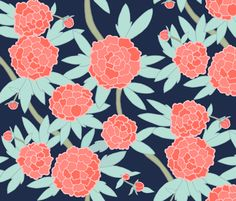 Paeonia in Coral and Mint on Navy fabric and wallpaper by Sparrowsong on Spoonflower - Bespoke peony fabric