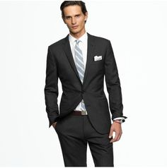 charcoal suit, dusty shale tie