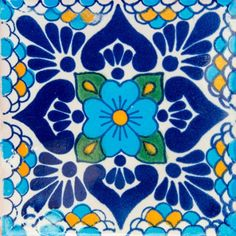 Patterned Tile – Page 9 – Colores De Mexico Blue Pottery, Pottery Kiln, Ceramic Pottery, Ceramic Art, Mexican Paintings, Mexican Pattern, Polynesian Art, Traditional Tile, Dot Art Painting