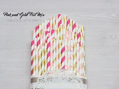 Kate Spade Bridal Shower Decor, Heart, Wedding Decor, Light Pink, Hot Pink, Gold Foil Party Straws, First Birthday Party, Girl Baby Shower