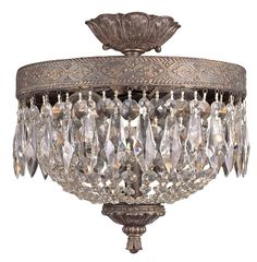 Trans Globe Lighting 8392 Crystal Two Light Semi Flush Ceiling Fixture from the Dark Bronze with Gold Indoor Lighting Ceiling Fixtures Semi-Flush