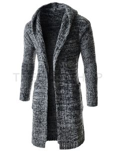 (CEC07-BLACKWHITE) Mens Casual Slim Fit Hood Shawl Collar Knitted Long Sleeve Cardigan