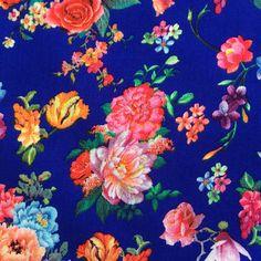 Royal Blue Viscose Floral Fabric