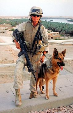 Marine Corps Sergeant Adam Leigh Cann, age 23 of Davie, Florida, was killed in action on January 2006 by a suicide bomb attack in Ramadi, Iraq. Cann and his bomb-sniffing German. Military Working Dogs, Military Dogs, Police Dogs, Military Police, Military Helicopter, Usmc, My Champion, Killed In Action, War Dogs