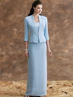 Two-piece Crepe Suit Strapless Mother Dress with 3/4 Sleeves