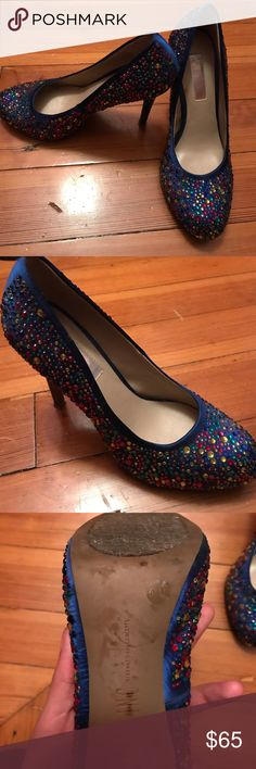 INC International Concepts bejeweled shoes Blue satin shoe with bejeweled detail. Size 6.5, hardly worn (might need some breaking into) about 4 inch heel INC International Concepts Shoes Heels