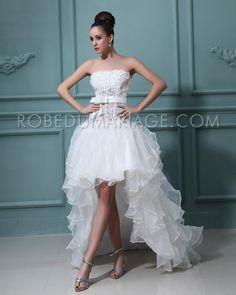 Robe de mariée civile robe de mariée moderne asymétrique sans bretelle Prix : €137,99 Cliquez pour plus d'infos : http://www.robedumariage.com/robe-de-mariage-asymetrique-fleurs-perles-froufrous-organza-product-6445.html