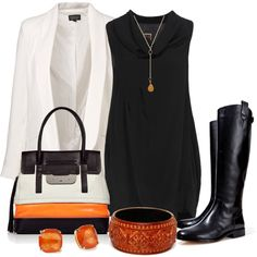 :) Black short dress with black boots, white blazer and orange accessories
