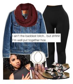 """ jus a luh sum"" by ayoo-tj ❤ liked on Polyvore featuring Topshop and Birkenstock"
