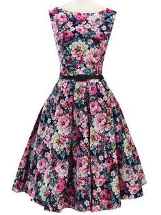 Website for dresses - this one was so pretty! | Vintage Boat Neck Floral Printed High Waist Ball Dress For Women