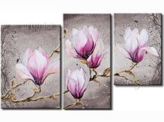 Online Shop Framed & Stretched Oil Painting High Quality Canvas Modern Home Deco Grey Purple Magnolia Art Floral, Pintura Magnolia, Canvas Wall Art, Canvas Prints, Cherry Blossom Art, Ancient Egyptian Art, Magnolia Flower, Contemporary Paintings, Watercolor Paintings