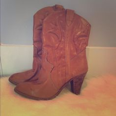 VINTAGE WESTERN COWBOY BOOTS 6-6.5 VINTAGE WESTERN HANDMADE BOOTS  Size: 6-6.5 made in Romania  REAL LEATHER  originally bought these at urban outfitters  original price: $120  Never worn by me personally. Shoes Heeled Boots