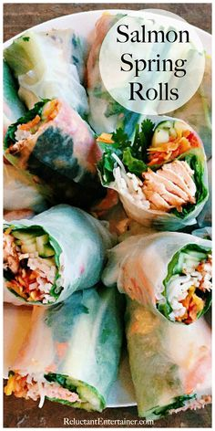 Salmon Spring Rolls Recipe - - Salmon Spring Rolls Recipe Most Pinned Recipes Salmon Spring Rolls Recipe Pescatarian Diet, Pescatarian Recipes, Vegetarian Recipes, Cooking Recipes, Healthy Recipes, Healthy Dinners, Salmon Spring Roll Recipe, Spring Rolls Vegan, Spring Roll Recipes
