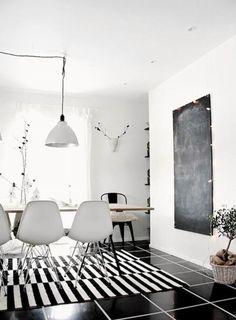 Monochrome Design | Dining Room Ideas | Ikea Stockholm Rug | Black White Stripe //admired by http://www.truelatvia.com