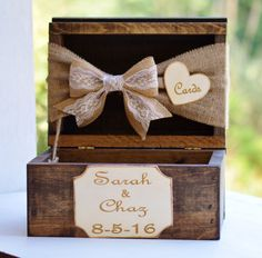 burlap and lace card box rustic wedding card by RedHeartCreations
