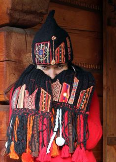 art  ethnic appliqued scarf and hat