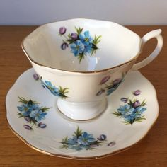 Floral Royal Albert Vintage Tea Cup and Saucer, Blue and Purple Flower Teacup and Saucer, English Garden Tea Party, Bone China Duo, UnNamed by CupandOwl on Etsy