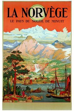 Norway country of  midnight sun vintage poster