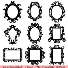 Baroque Frames Clipart Clip Art, Vintage Frames Borders Clipart Clip Art - Commercial and Personal Use by PinkPueblo on Etsy Clip Art Vintage, Vintage Frames, Black Silhouette, Tree Silhouette, Tree Clipart, Vintage Borders, Borders And Frames, Illustration, Vintage Posters