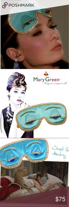 "💎""Breakfast at Tiffany's"" Sleep Mask""💎 Authentic Holly GoLightly ""Breakfast at Tiffany's"" Sleep Mask by Mary Green. Get your beauty sleep in this luxurious Silk& Satin mask. Gold trim with blue rhinestones. NWT Mary Green Accessories"