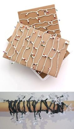 Tangles, tangles, and more tangles! This is what we have to look forward to every year when we break out all of the Christmas lights. It gives me anxiety! Here's an easy and cheap solution to that problem: Wrap them around pieces of cardboard and long wrapping paper rolls to keep them better organized and tangle free.