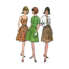 Vintage 1960s McCalls 7770 Womens Dress, Sundress and Jacket Sewing Pattern; Easy to Sew. Dress with camisole-type bodice and two-piece gathered skirt, with matching or contrasting single breasted jacket. Dress has left side zipper, bodice is dart fitted and lined. Jacket has short