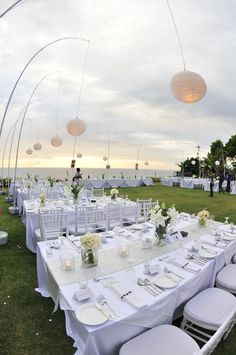 beach side white wedding reception