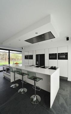 Kitchen2  White Contemporary Villa Integrating an Office in the Netherlands