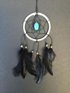 Hey, I found this really awesome Etsy listing at https://www.etsy.com/listing/201574233/gray-black-turquoise-stone-dream-catcher