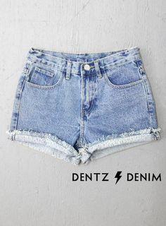 7f57b958436f High Waisted Denim Shorts - Cuffed Waisted Denim