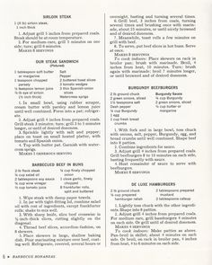 """Beef Recipes from """"McCall's Picnic and Patio Cookbook"""" 