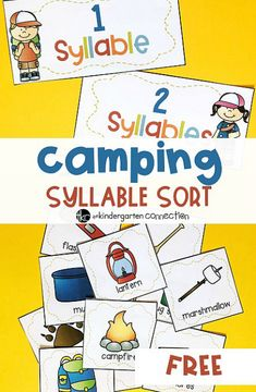 Grab this FREE Camping Syllable Sort Activity for your kindergarten classroom. This is a fun literacy activity, perfect for centers or small groups! Syllables Kindergarten, Kindergarten Reading, Kindergarten Classroom, Kindergarten Activities, Classroom Activities, Preschool Camping Activities, Classroom Decor, Preschool Literacy, Preschool Themes