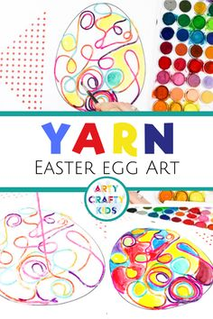 Fun Yarn Squiggle Art Easter Egg Activity for kids with a handy Easter Egg Template to print. With lines popping out from the page, the yarn adds a fun dynamic to regular line art concept. Easter Arts And Crafts, Spring Crafts For Kids, Easter Crafts For Kids, Art For Kids, Easter Ideas, Spring Art Projects, Easter Activities, Spring Activities, Learning Activities