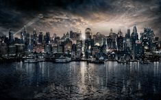 dc comics fan art wallpaper gotham skyline