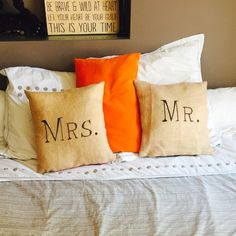 Pillows Mrs and Mr . Home made . Wedding inspiration .