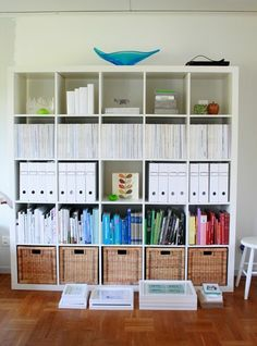 42 Ideas for craft room office organization bookshelves Ikea Expedit Bookcase, Bookshelves, Kallax 5x5, Ikea Kallax, Kallax Regal, Book Organization, Organizing Books, Sewing Rooms, Getting Organized