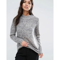 Y.A.S Mulla Chunky Rollneck Jumper ($62) ❤ liked on Polyvore featuring tops, sweaters, grey, roll neck sweater, jumper top, grey top, roll neck top and high neck top