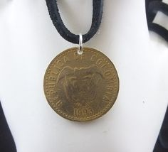 Colombia Coin Necklace 100 Pesos Coin by AutumnWindsJewelry