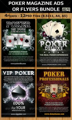 "Poker Magazine Ads-Flyers Template Bundle, Contains 4 Different and modern psd Poker ad designs that can stand out in the crowed and give that extra push to your website, poker club, or event!  All Sets comes in various sizes like A4, A5 and 8.5""x11"""