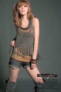 "Photo from album ""mar 1 15 on Yandex. Crochet Pants, Crochet Shirt, Crochet Clothes, Hippie Crochet, Love Crochet, Knit Crochet, Crochet Tops, Crochet Bathing Suits, Dress With Cardigan"