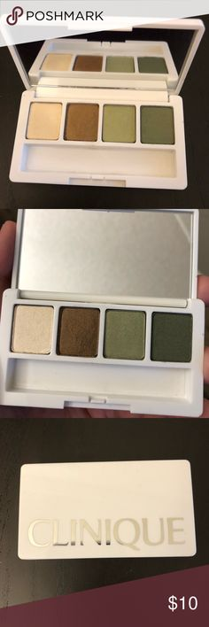 Clinique All about shadow quad Gently used  Authentic  Downsizing my makeup collection  Please view all photos for details  No box No trades or holds Clinique Makeup Eyeshadow