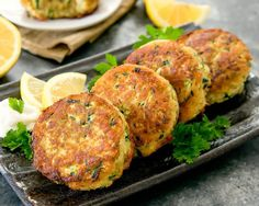 """Zucchini """"Crab"""" Cakes, also known as Poorman's Crab Cakes, are made with zucchini instead of crab. Even though these fritters do not contain any crab meat, they taste like regular crab cakes! Zucchini Crab Cakes, Zucchini Appetizers, Seafood Recipes, Cooking Recipes, Vegetarian Recipes, Dinner Recipes, Baked Fish, Crab Meat, Fritters"""