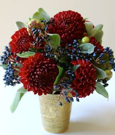 Red White and Blue Flower Arrangement for July 4th and Summer Holidays
