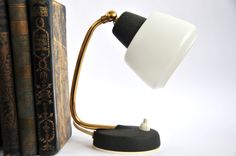 Mid Century Modern  Bedside Lamp Lighting Black and White Gold Table Lamp Small Lamp Night Lamp (78.00 USD) by ColoursAndSoul